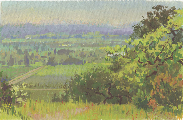 Landscape Painting Outdoors in Gouache